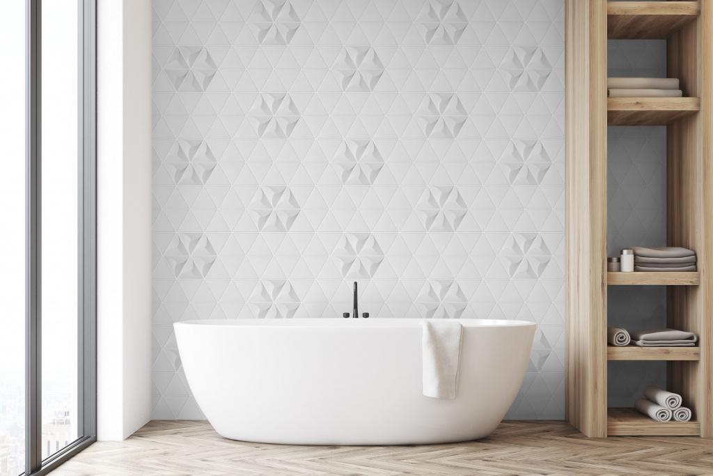 Bílé luxusní matné obklady do koupelny Heralgi Atlanta Snow 15x17 cm