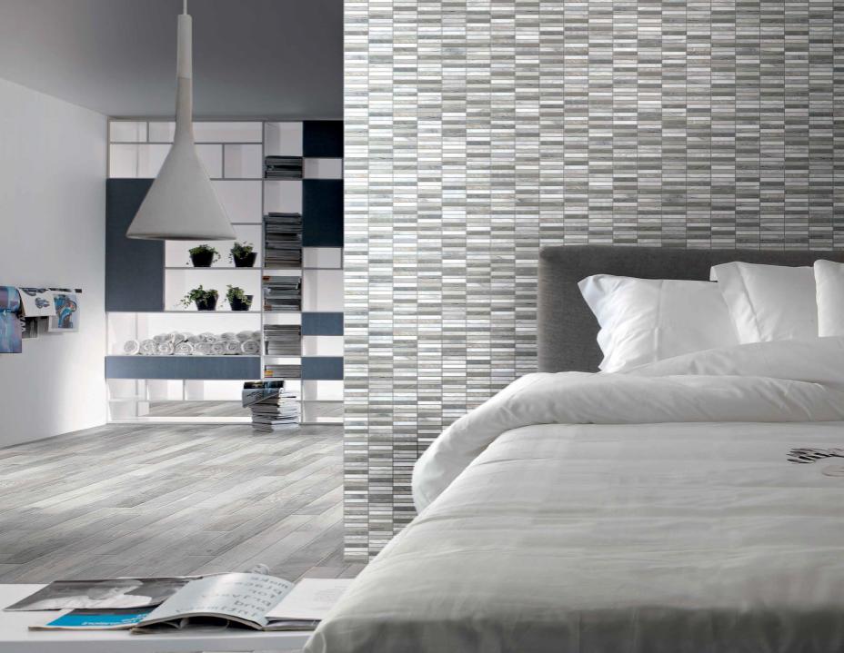 Dlaždice šedé zkamenělé dřevo Brennero Infinity Perla & Mosaico Matite Osso