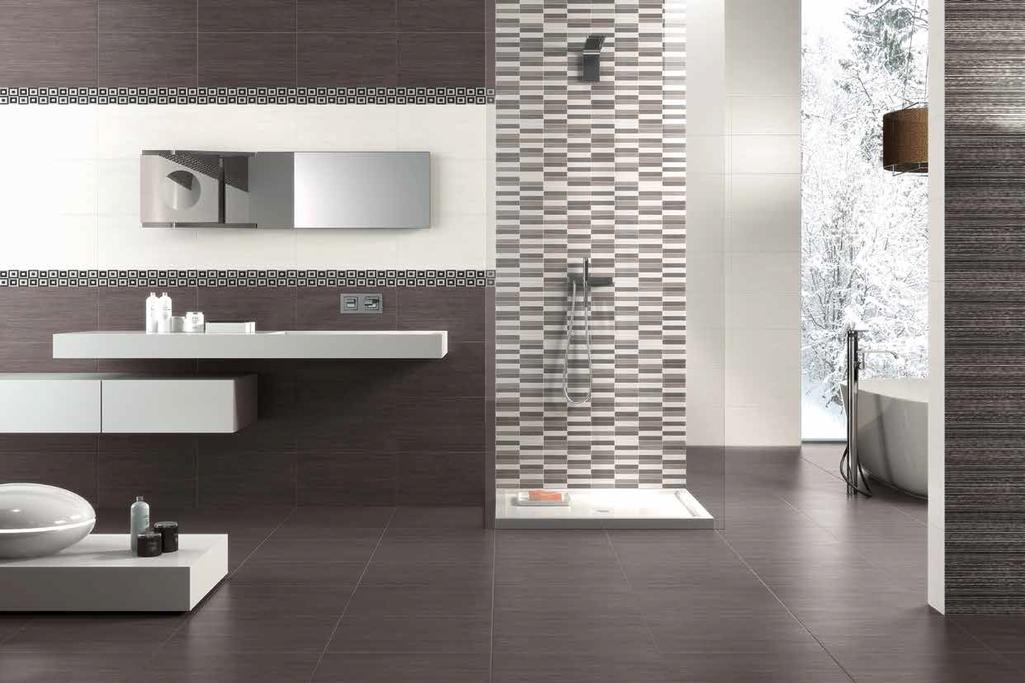 Obdélníková mozaika v hnědo bílé koupelně Naxos Clio White & Dark