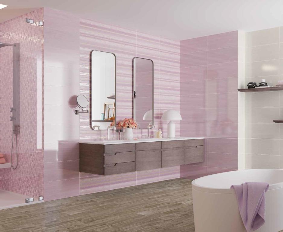 Moderní koupelna v pastelových barvách Naxos Soft Fjord, Mallow & Ega