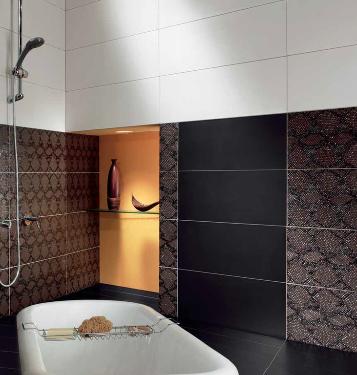 Hnědobílá koupelna Settecento Animalier Dec. Cobra Moka