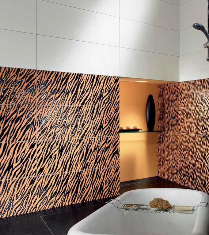 Oranžovo černá koupelna Settecento Animalier Dec. Zebra Orange
