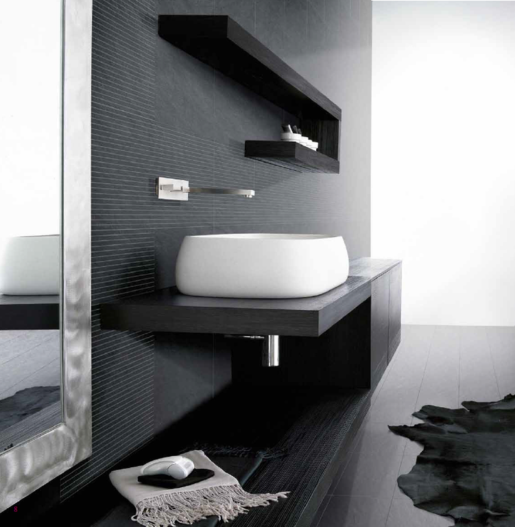 Moderní černá koupelna Settecento Concreta Lava