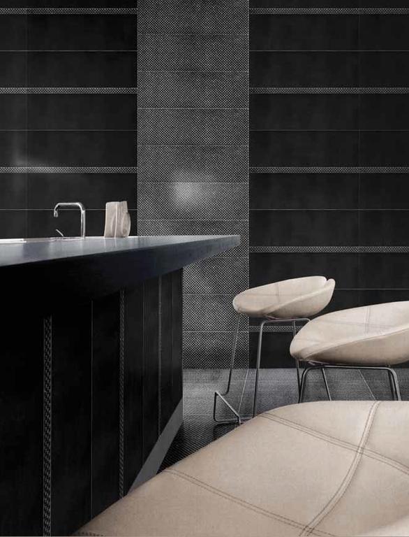 Černé obklady v koupelně Settecento F.1 Design Glitter Black & List. Glitter Black