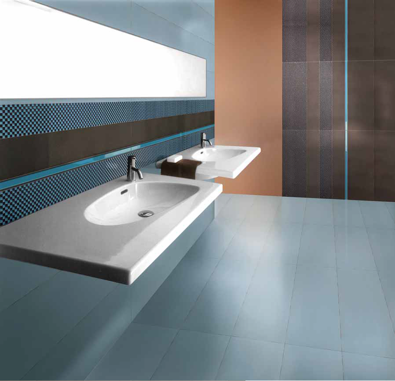 Inspirace pro moderní koupelnu Settecento F.1 Design Liner, List. Light Blue & Moka