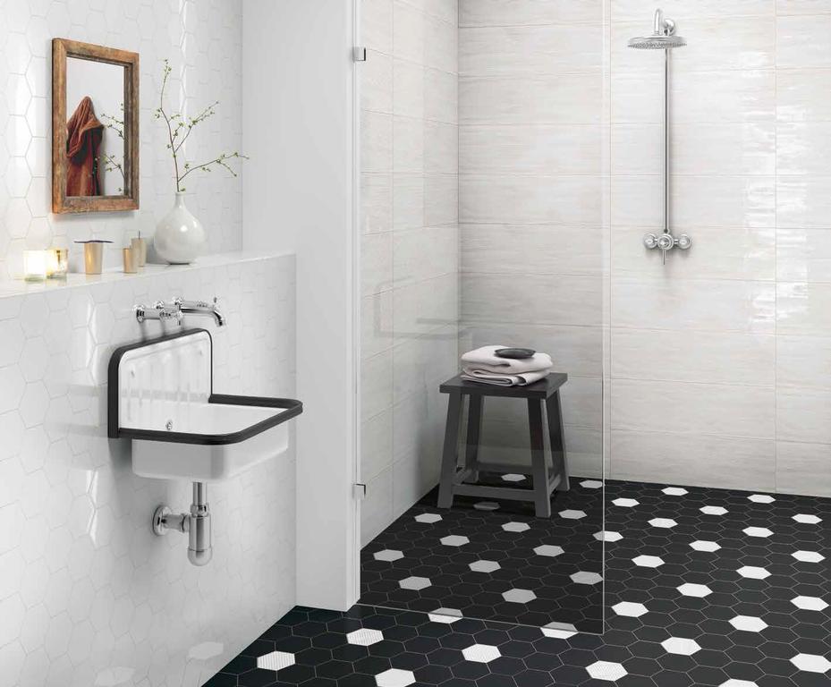 Obkladačky s designem dřeva Settecento Matiere Hexa-style White & Black