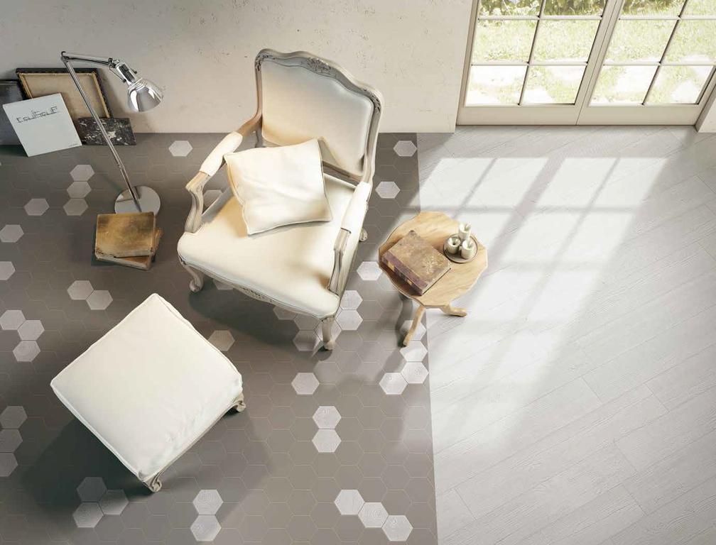 Šedá šestihranná dlažba Settecento Matiere Hexa-style Fango & Ivory