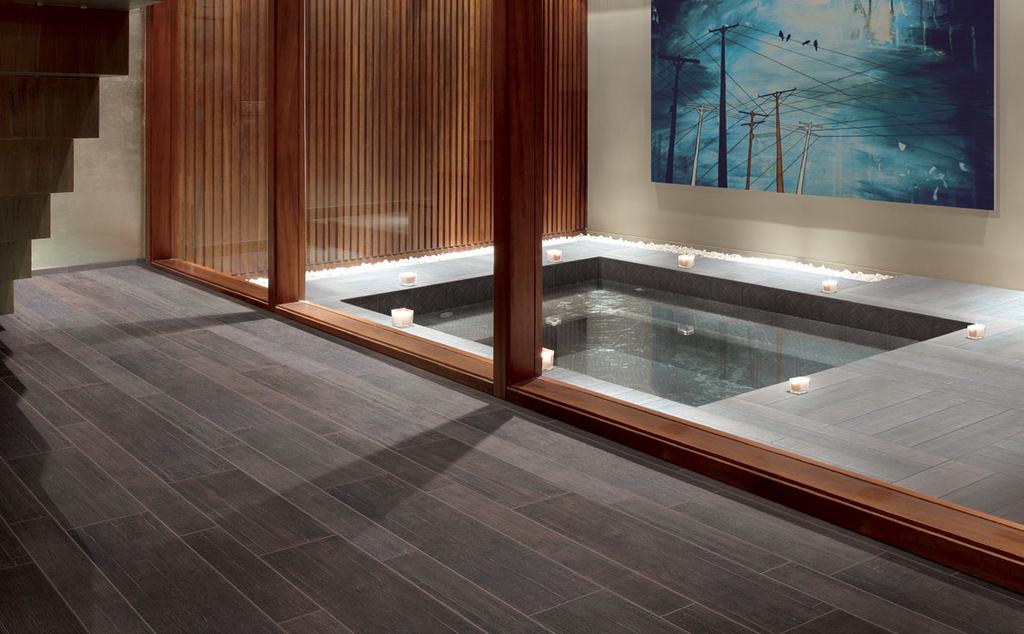 Dlažba k bazénu imitující dřevo Cerdomus Barrique Fonce