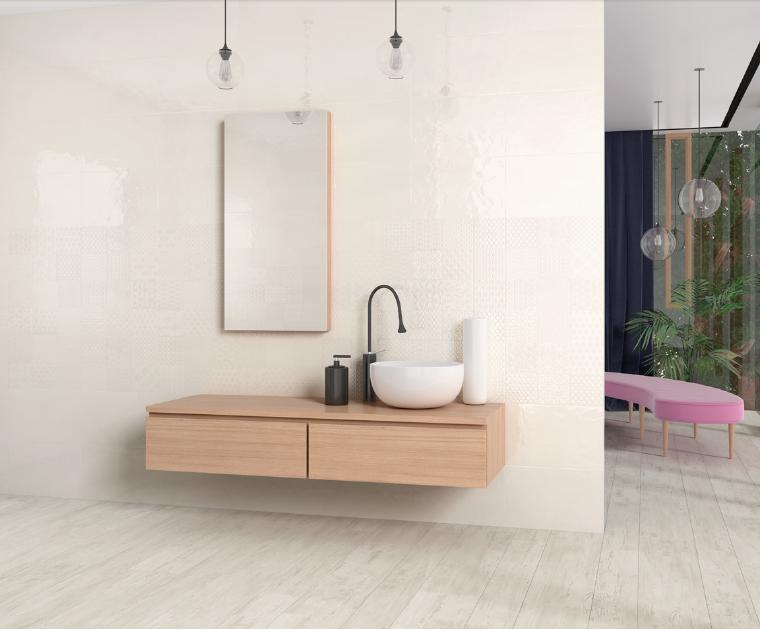 Perleťově krémové lesklé koupelnové obklady Aleluia Ceramic Aline