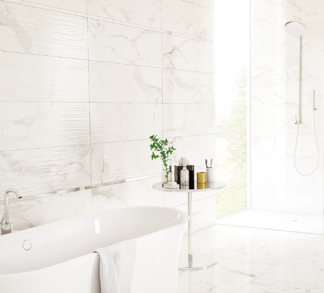 Bílé obklady a dlažba do koupelny v imitaci mramoru Aleluia Ceramic Natura