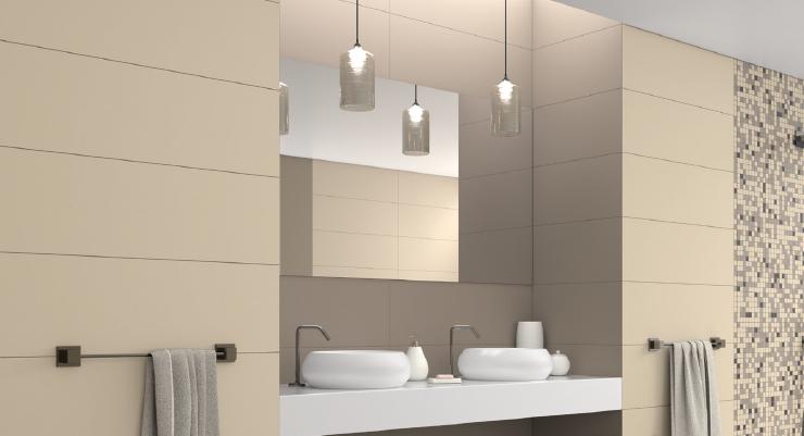Béžové minimalistické koupelnové obklady a dlažba Aleluia Ceramic Minimal