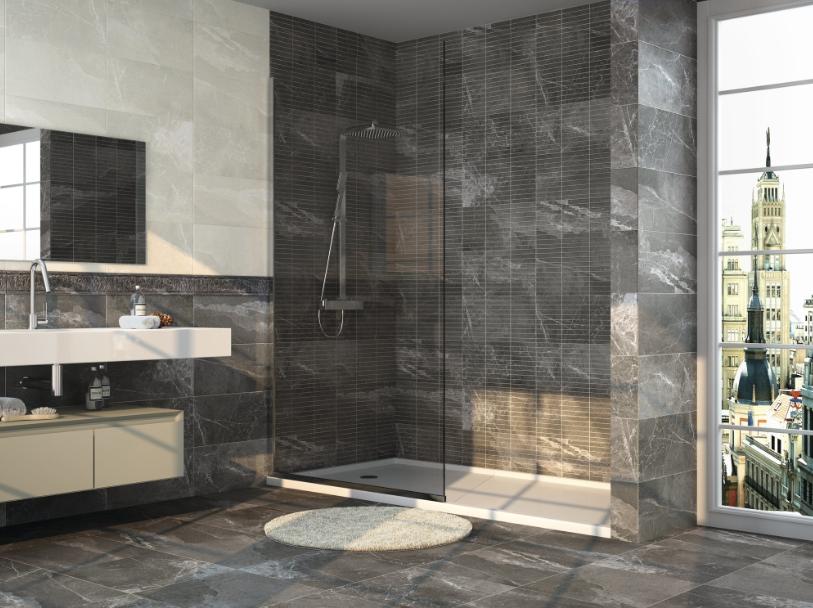Černobéžové obklady v imitaci mramoru do koupelny Apegrupo Nulvi