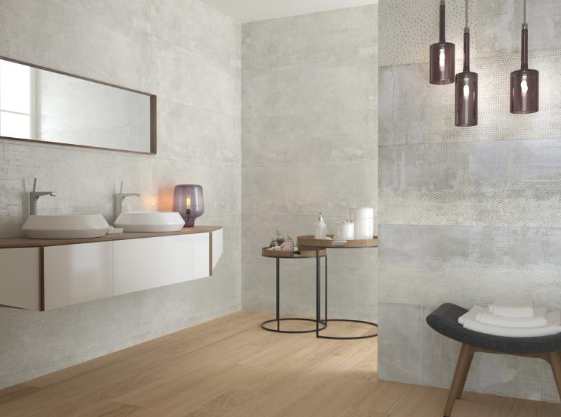 Šedé koupelnové obklady v imitaci betonu Apegrupo Old Street