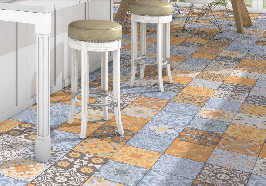 Modrooranžová patchwork dlažba Codicer Coimbra