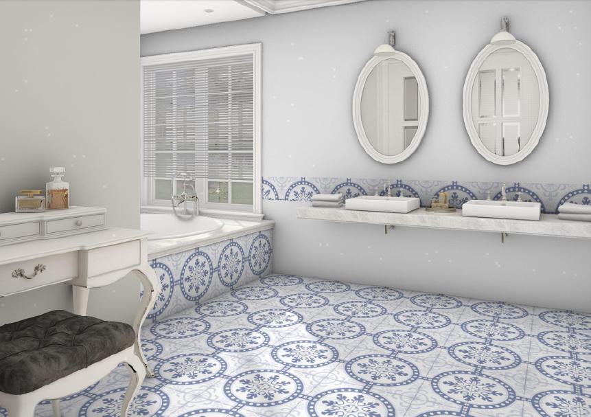 Modrobílé obklad a dlažba do koupelny se vzorem Codicer Duart