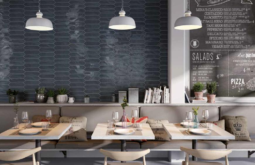 Modré interiérové hexagonální obklady Settecento Crayons