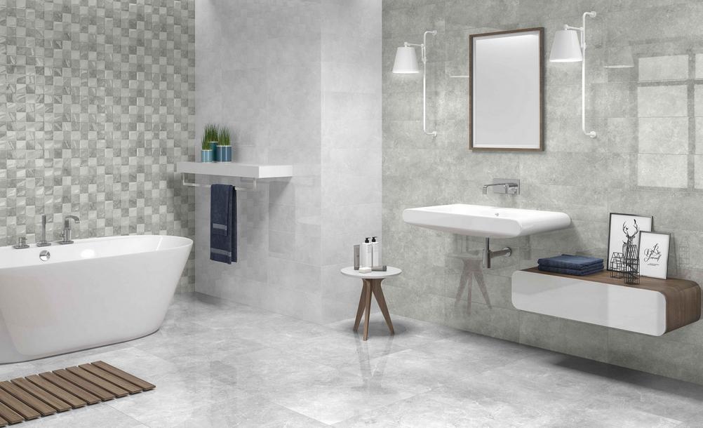 Šedobílé koupelnové obklady s mozaikou Undefasa Atrium