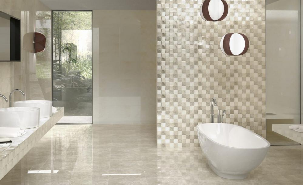 Béžové obklady v imitaci mramoru s mozaikou Undefasa Atrium