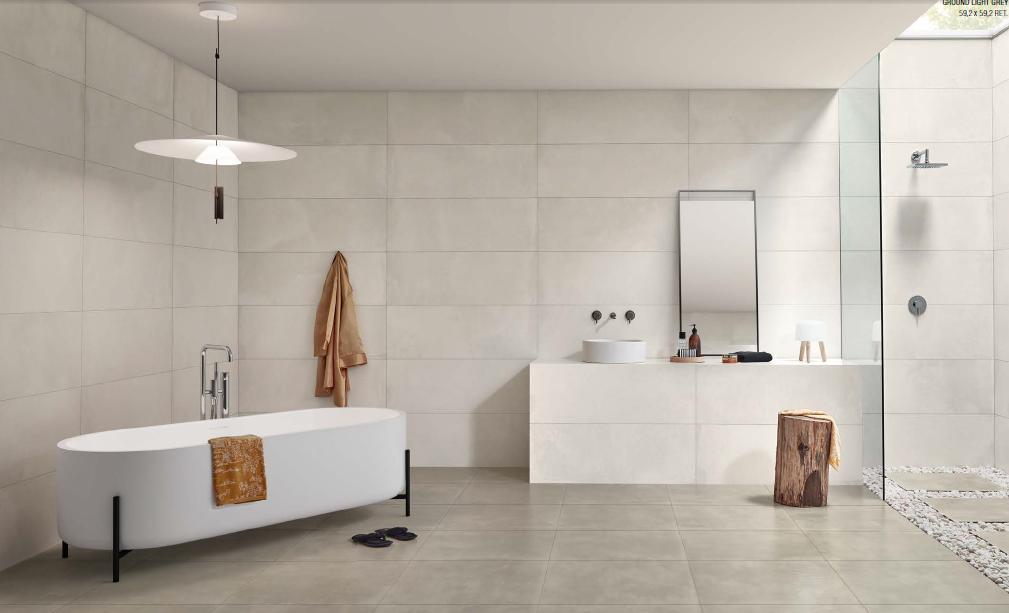 Světlá koupelna v cementových barvách Love Ceramic Core