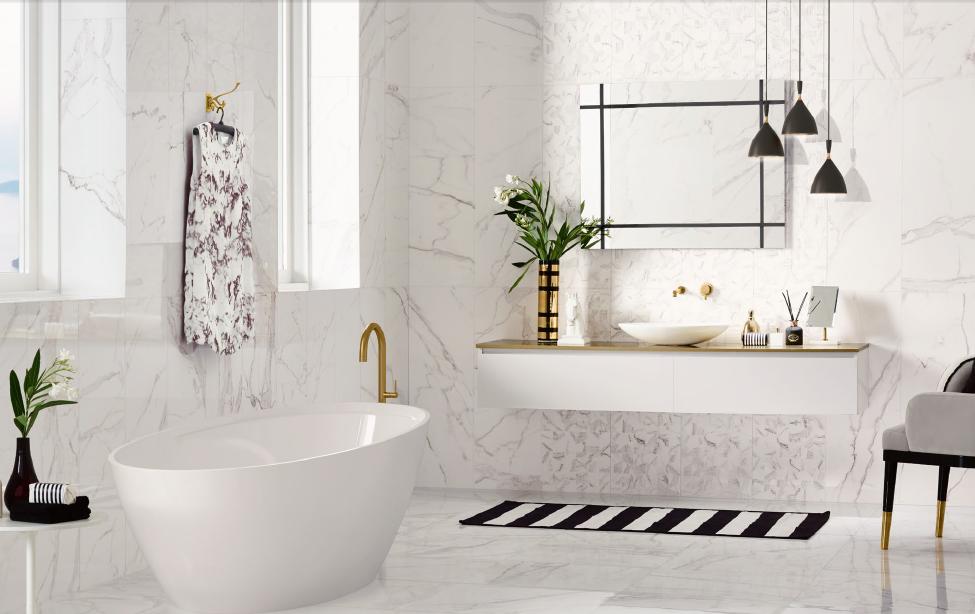 Koupelnové obklady s dekorem v imitaci mramoru calacatta Love Ceramic Precious
