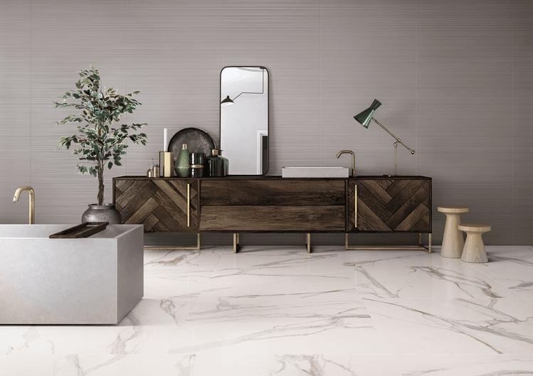 Lesklá dlažba italské keramičky Ceramiche Keope Elements Lux Calacatta Gold