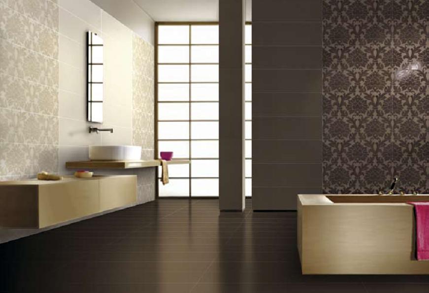 Hnědé a béžové obklady do koupelny s ornamenty Settecento New Baroque