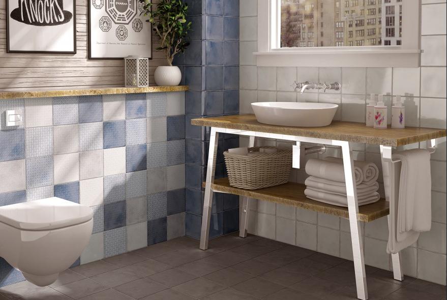 Modrobílá retro koupelna Equipe Splendours