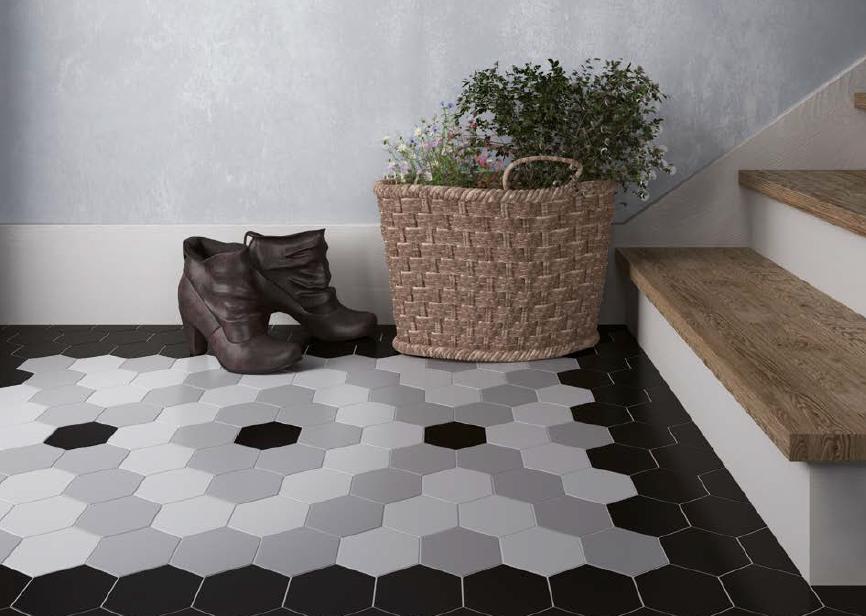 Šestiúhelníková dlažba v kombinaci bílé, šedé a černé barvy Equipe Scale Porcelain