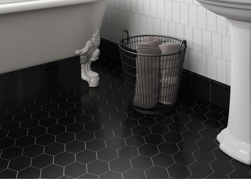 Černá hexagonální dlažba Equipe Scale Porcelain