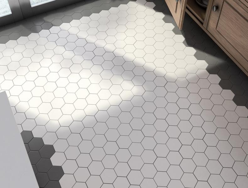 Hexagonální dlažba v kombinaci bílé s šedé barvy Equipe Scale Porcelain