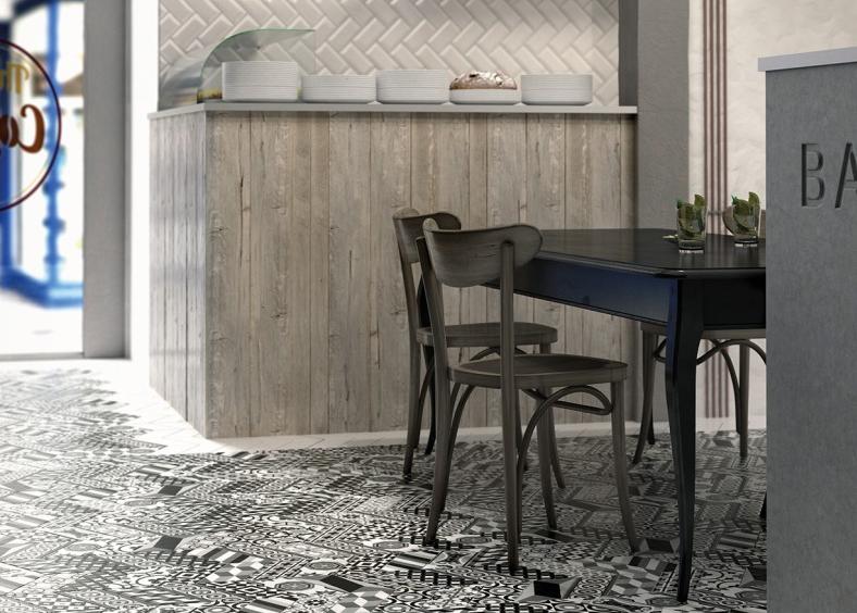 Černobílá podlaha s patchworkovým vzorem Equipe Chevron
