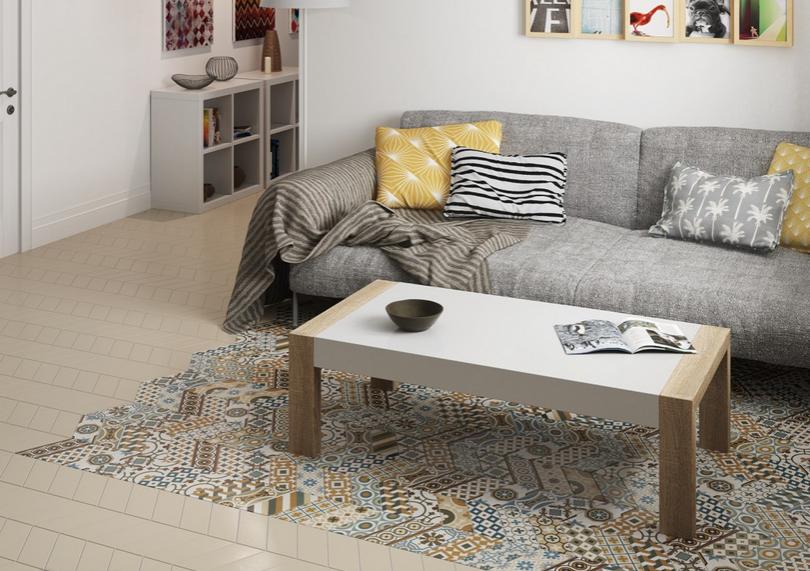 Béžová dlažba s patchworkovým dekorem Equipe Chevron