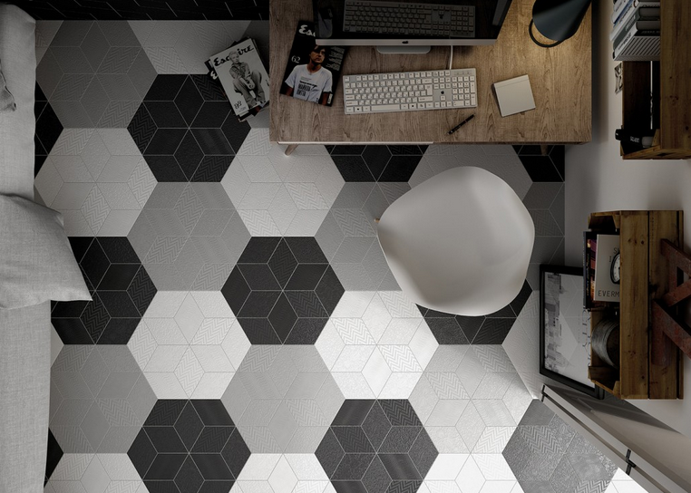 Dlažba v bílé, šedé a černé barvě Equipe Rhombus