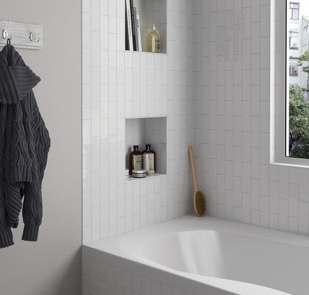 Lesklé bílé obklady do koupelny Equipe Country