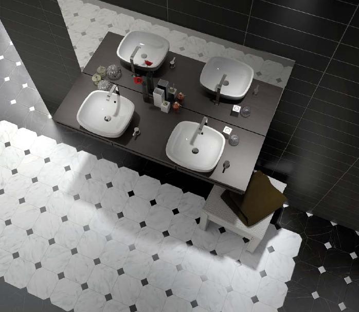 Bílá a černá osmiúhelníková dlažba do koupelny Equipe Octagon