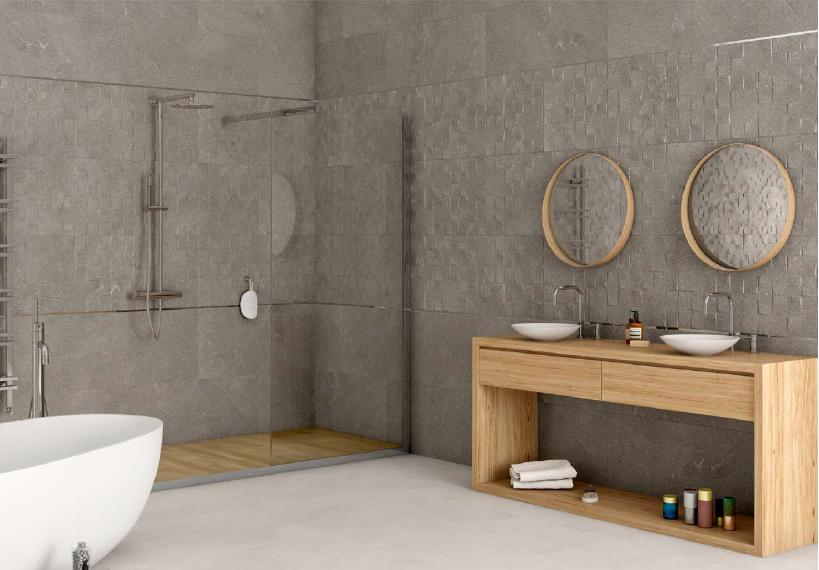 Tmavě šedé obklady v imitaci betonu s mozaikou Argenta Plasencia