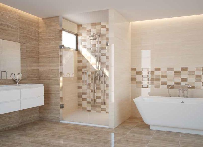 Koupelnové obklady v imitaci mramoru s dekorem Argenta Marmara