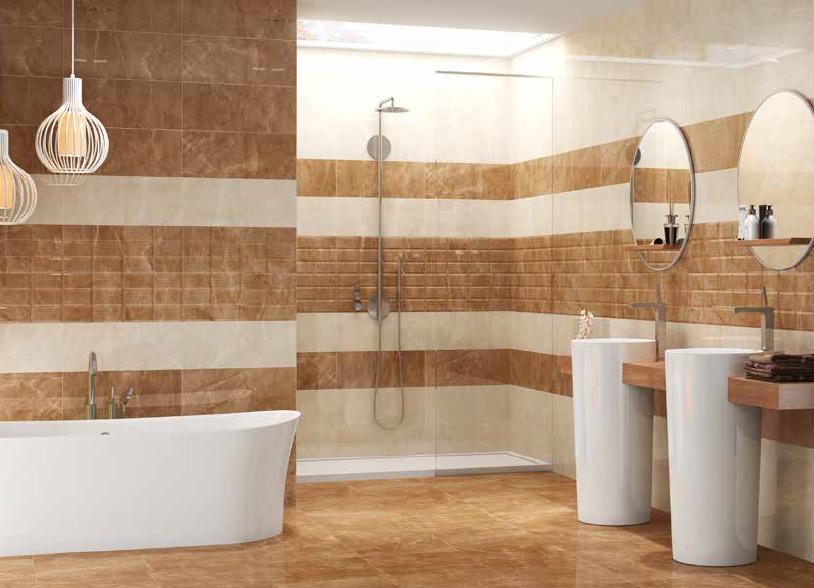 Hnědé a béžové koupelnové obklady v imitaci mramoru Argenta Tribeca
