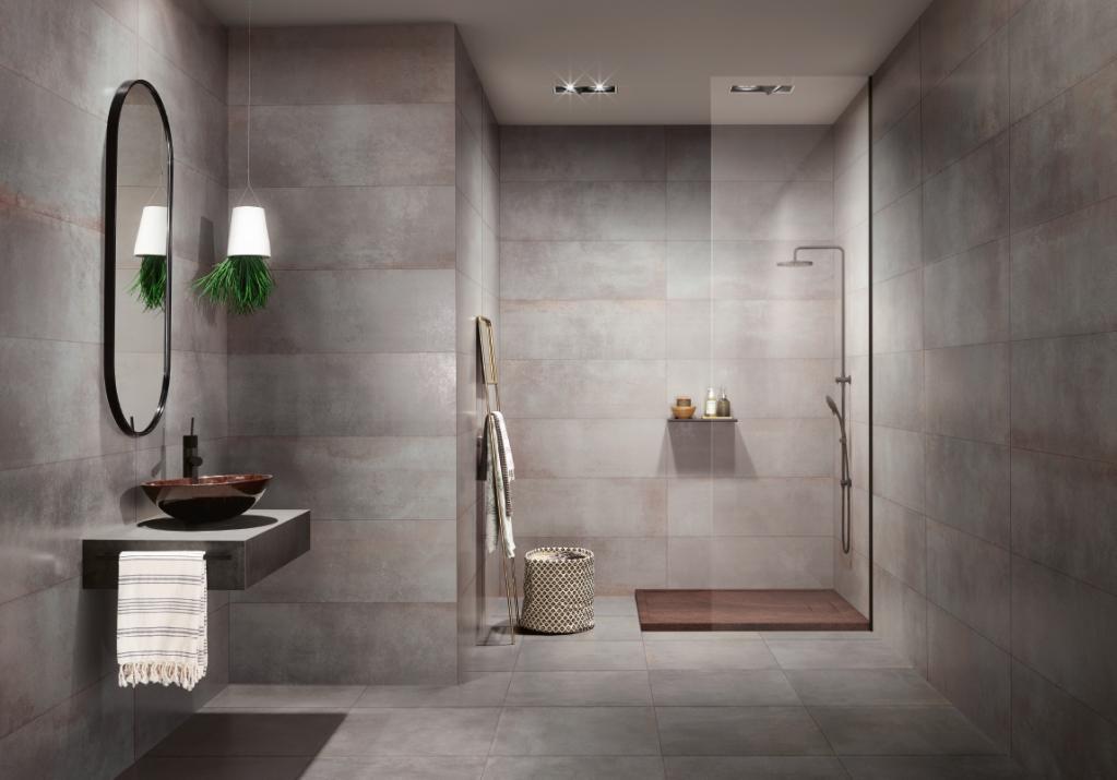 Moderní šedé obklady a dlažba do koupelny s kovovým vzhledem LOVE Metallic