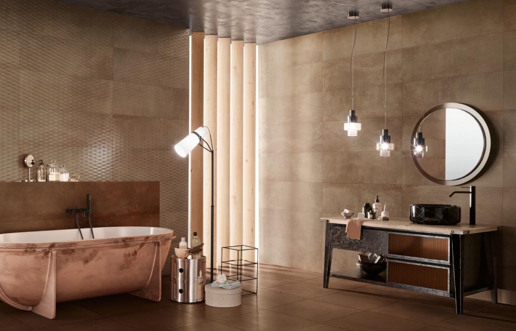 Obklady do koupelny se strukturovaným povrchem a vzhledem kovu LOVE Metallic