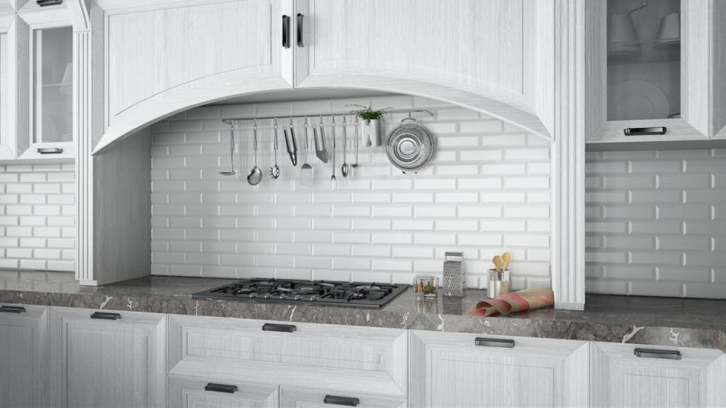Moderní obklad do kuchyně psaníčka Deceram Subway Blanco Biselado 7,5x30