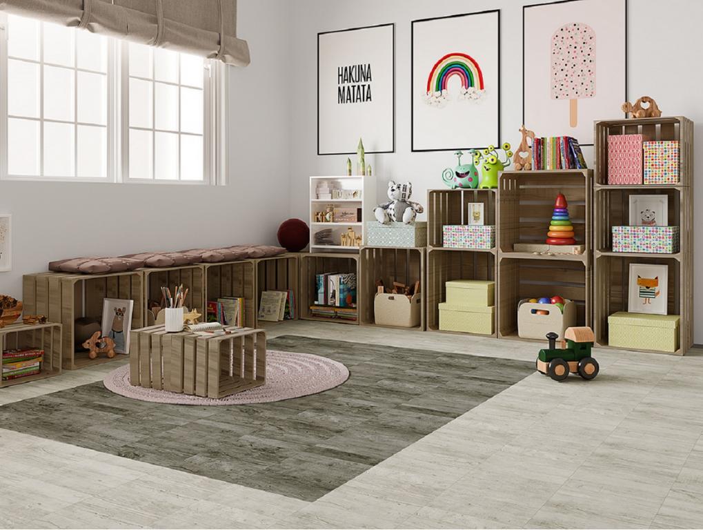 Dlažba v dětském pokoji s efektem dřeva El Barco Jungle