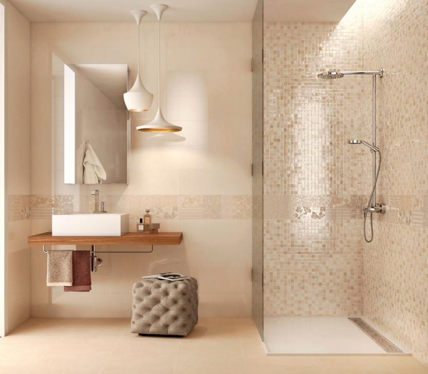 Bagno Con Vasca E Doccia Rivestito Stile Retro Interior Design : Kostičkovaný obklad do koupelny v béžových tónech
