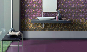 Fialová mozaika Settecento Le Murrine Gold Ambiente realizzato con, Amethyst High & Medium e Low Gold